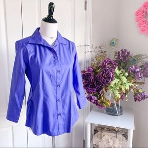 Chico's 3/4 Sleeve Button Up Shirt in Purple